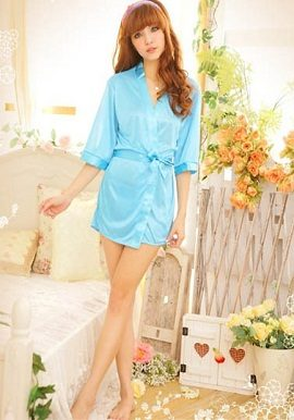 pure crepe sky blue robe with free thong panty,online,online india