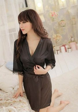 smooth black crepe robe,online,online india