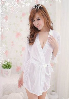 soft silky white crepe robe|online|buy|india|