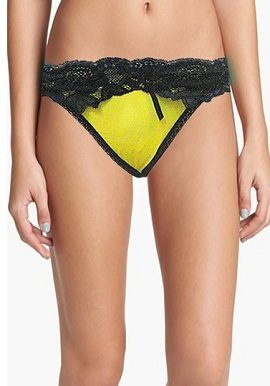Yellow Black Lace Thong |buy|online|