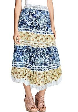 Yellow Blue Floral Printed Skirt |buy|online|best|
