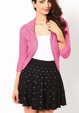 Stylish Pink 3/4 Sleeves Shrug snazzyway.com