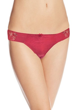 Women's Soft Side Lace Plain Red Thong