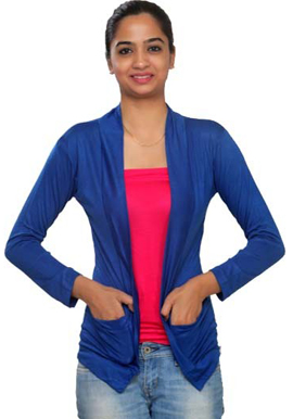 Solid Blue Full sleeves front pocket shrug snazzyway.com