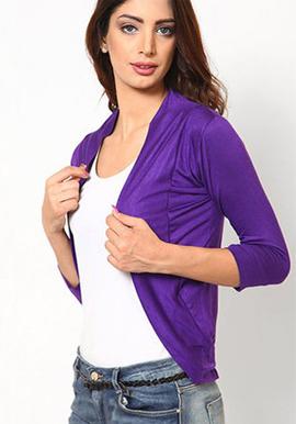 Stylish Purple 3/4 Sleeves shrug snazzyway.com