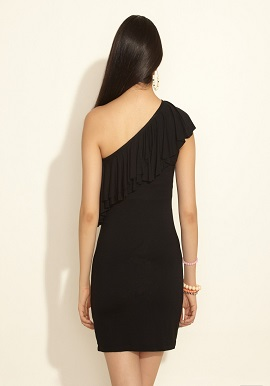 Black Ruffle One Shoulder Dress 2