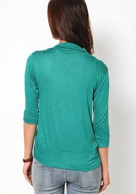Fashion fit Aqua green 3-4 sleeves shrug (1)