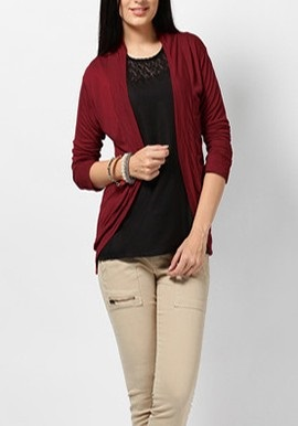Maroon full Sleeves Shrug