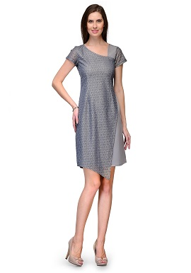 Raas Prêt Girls Layered Grey Blue Tunic
