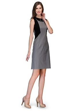 Raas Pret Girls Shimmer Grey Black Dress
