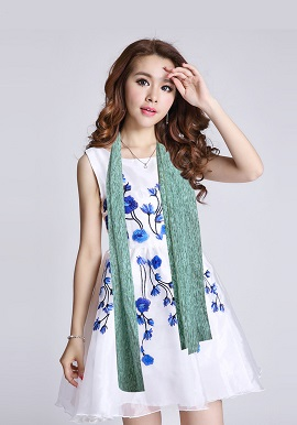 Sea Green Printed Cotton Stole