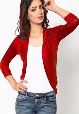Solid 3-4 Sleeves Red Shrug