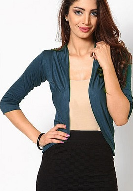 Stylish Sea Blue 3 Quater Sleeves Shrug