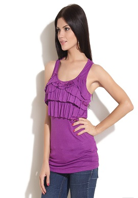 Women's Ruffle Purple Viscose Top