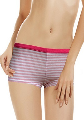 Women's Pretty Color Stripes Pattern Boyshort (Pk Of 2)