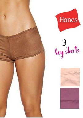 Hanes -Solid Colours Boyshorts Value Pack Of 3