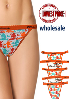 Wholesale Cool Printed Minnie String Thong Lot Of 5 Piece