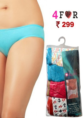 Hushh Cotton Soft Pack Of 4 High Waist Panty