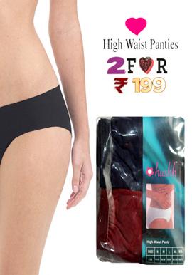 Hushh Women's Gorgeous 2 pairs High Waist Brief