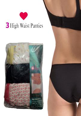 Hushh women's sexy High Waist Brief Pack of 3