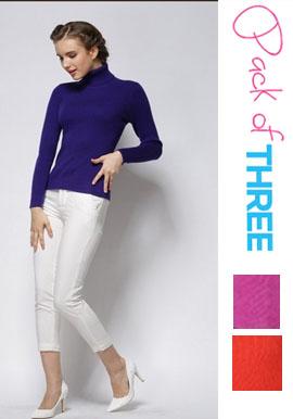 Wholesale Lot 3 Piece Women's Cashmere Turtleneck Sweater