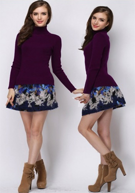 Women's High-Necked Hedging Tight Sweater