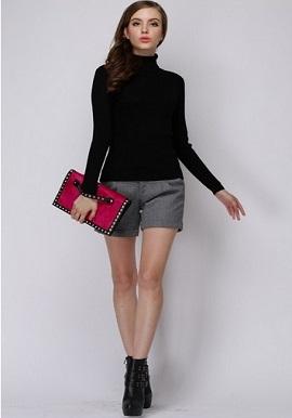 Women's Hot Black Turtle Neck Sweater