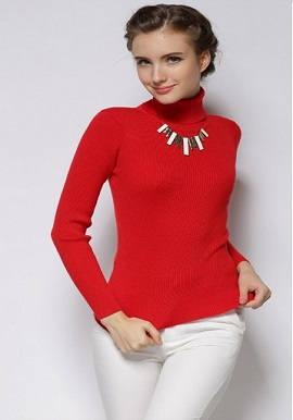Women's Hot Cashmere Ribbed High Neck Red Sweater