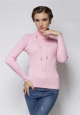 Women's Smooth Cashmere Pink Turtle Neck Sweater