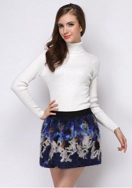 Women's Soft Cashmere High Neck White Wool Sweater