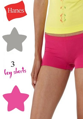 Hanes Soft Comfy Women's Cotton Stretch Three Boyshort