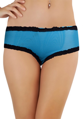 Luxury Sky Blue lace Band See through Boyshort