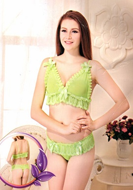 Romantic Silky Soft Neon Green Lingerie Set