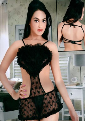 Sexy Black Sheer Top Flower Cover Lingerie Set