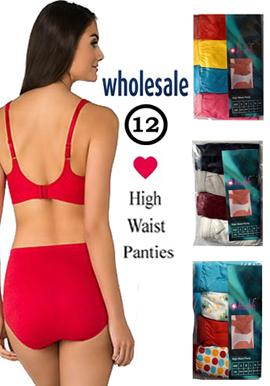 Wholesale High Waist Cotton Stretch Panties Lot Of 12