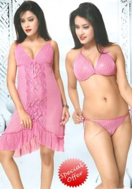 Women's Flirty Front Frilled Babydoll Set