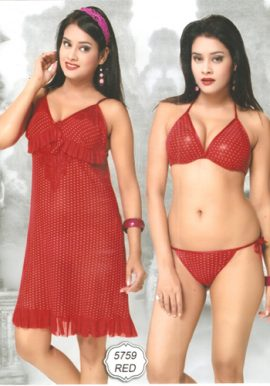 Women's Hot Sexy Dotted Red Babydoll Set