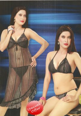 Women's flirtatious Black Babydoll Set