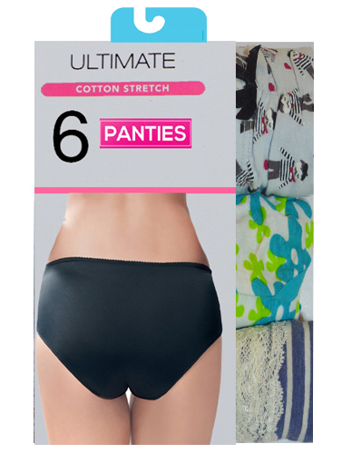 Cotton Comfort Mixed Panties Lot Of 6