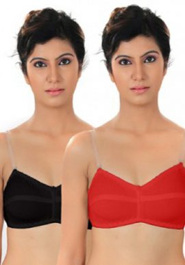 Lady's Cotton Transparent Straps Bra Pack Of 2