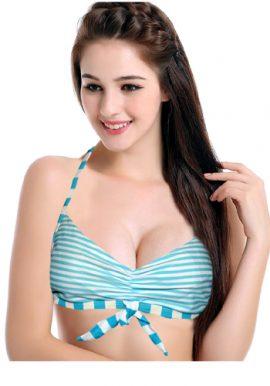 Blue Motion Wrinkle Print Halter Bikini Top