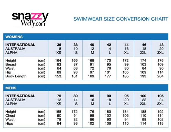 Women swimwear size chart snazzyway