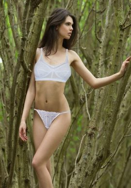 Hushh Stunning White Bra With Net Cut Sensual Thong