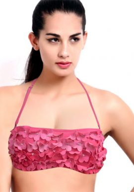 Beautiful Pink Flower Frilled Padded Multiway Bra
