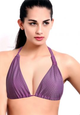 Beautiful Purple Comfy Tri Halter Bikini Top