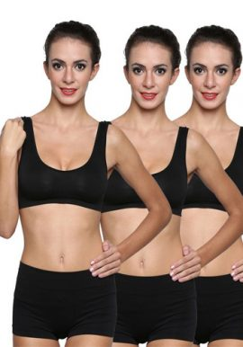 3-Pack Scoop Neck Black Sports Bra Boyshort set