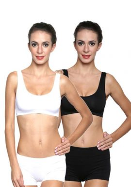 Black White Medium Support Sports Bra Set