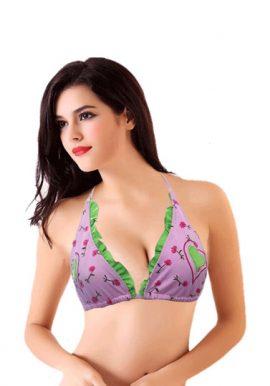 Buy Baby Pink Flower Print Frilled Halter Bikini Top