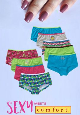 Cute Sexy 9 Pack Girl's Assorted Boyshorts