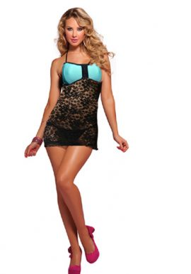 Turquoise Black Zip Front Lace Halter Babydoll Set